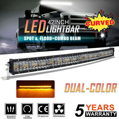 Tri-Row 22 32 42 50'' Amber/White/Strobe LED Offroad light Bar ATV SUV 4X4