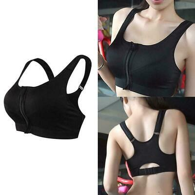 Women's Girl High Impact Front Zip Wireless Padded Top Gym Cup Tank Bra Spo Y0T2