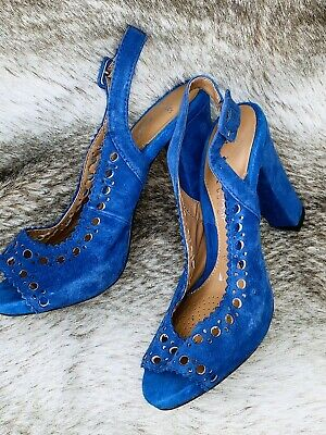 CLARKS SOFTWEAR blue suede BLOCK HEEL PEEP TOE SANDALS Size 3