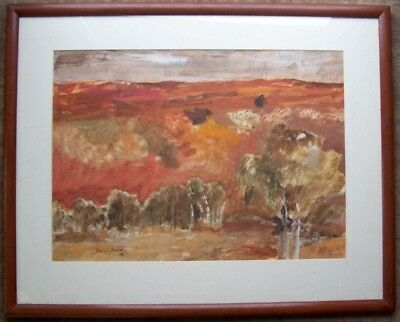 Beryl Foster, framed untitled watercolour of a red landscape