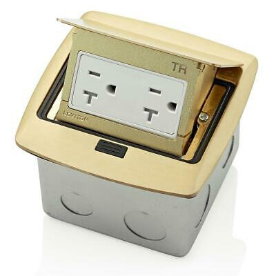 Leviton Pop-Up Floor Box with 20 Amp, Tamper-Resistant Outlet, Brass