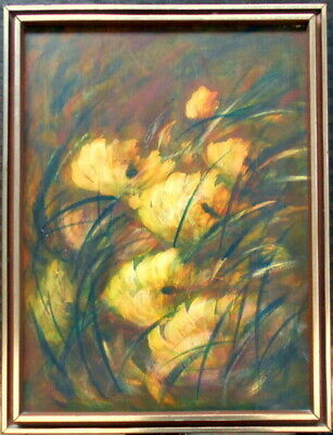 J Raichel (?), large framed oil on board of a flower still life