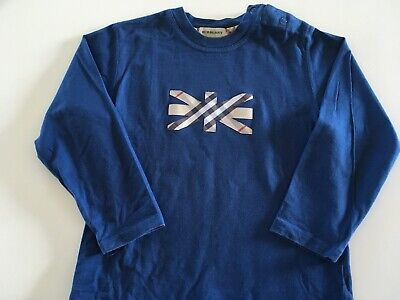 Boy Genuine Burberry Long Sleeve T Shirt Size4 Great Condition