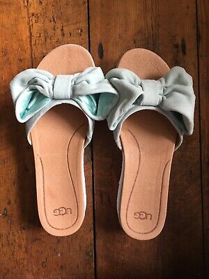 Womens UGG Joan Slides Mint Size UK7 RRP £115 Bow Sandals NEW WITH BOX UNWORN