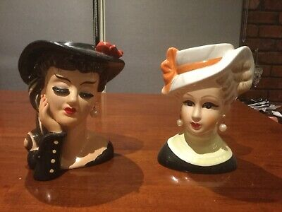 Beautiful Pair Of Ceramic Reproduction Lady Head Vases...as New Condition...