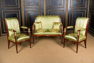 Elegante French Lounge Suite Set in Empire Style Mahogany Veneer