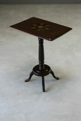 Antique Parquetry Wine Side End Lamp Occasional Table