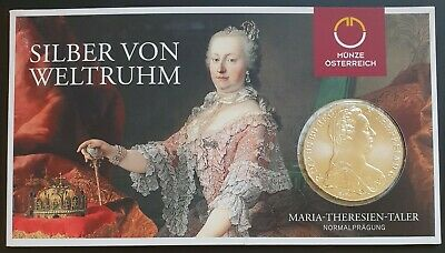 1780 Re-Strike Marie Theresa Silver Thaler on official presentation card...UNC..