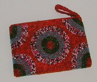 Art Deco Style - Colorful Beaded Vanity Purse With Circular Beaded Center - New