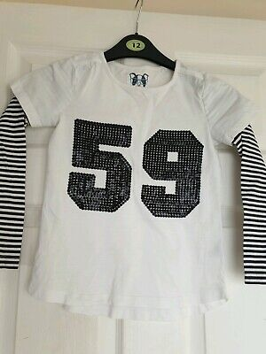 Excellent Condition Tu White And Black Long-sleeve Top Age 8 Years