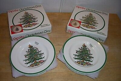 """2 Sets of 4 SPODE Christmas Tree DINNER PLATES (ENGLAND)  10 3/4""""  IN BOX NEW"""