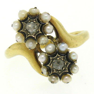 Antique French Victorian 18k Gold Rose Diamonds Seed Pearl Enamel Bypass Ring