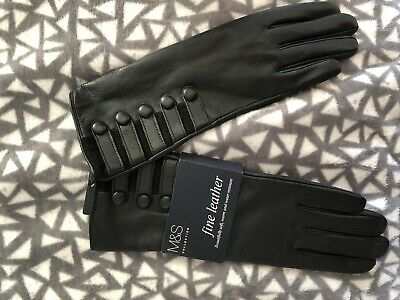 M&S Ladies Fine Leather Gloves Black BNWT Marks Size SMALL