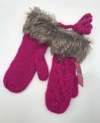 Lipsy Girls Purple One Size Cable Knit Mittens