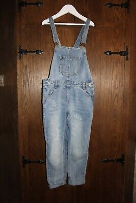 Next distressed blue dungarees, aged 8, excellent condition