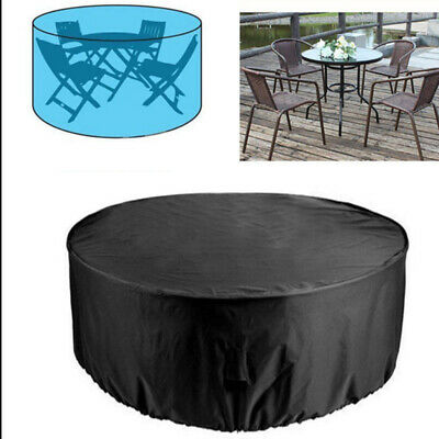 Protective Outdoor Garden Patio Set Heavy Duty Furniture Table Cover Round Black