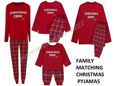 Family Christmas Crew Matching Red Pyjamas Mens Womens Boys Girl Baby Pjs Pyjama