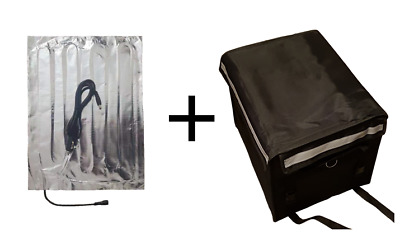 52L black delivery bag with temperature controlled heat pad