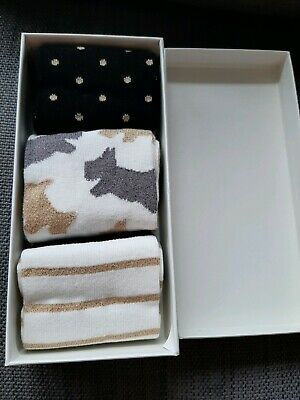 Radley 'Gold And Black' One Size Three Pairs Of Socks