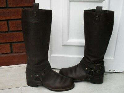 """""""White Stuff"""" Brown Leather Knee High Boots Detachable Ankle Strap - Uk 5"""