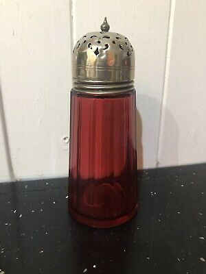 Vintage Cranberry Glass And Silver Plate Sugar Shaker Exquisite