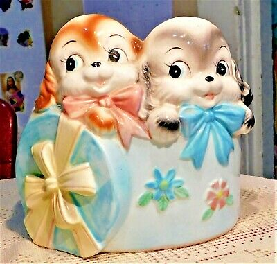 VINTAGE MID-20th CENTURY HAND PAINTED CERAMIC  PUPPIES IN BASKET PLANTER - JAPAN