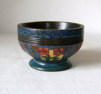 Vintage Painted Turned Wooden Bowl - possibly  Norwegian - Arts & Crafts Style