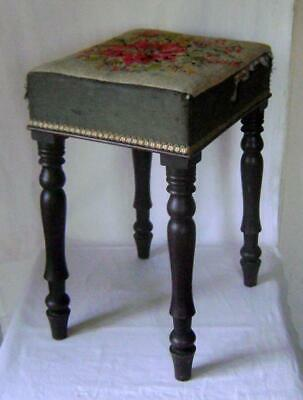 Victorian Mahogany Stool, Tall & Square with Turned Legs & upholstered top a/f
