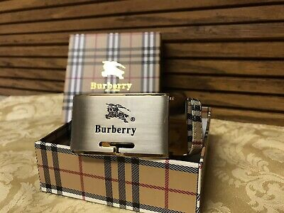 Burberry Classic Plaid Print Leather Belt with Plaque Buckle Knight /Horse Logo