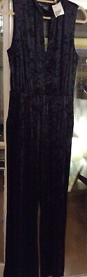 Lovely H & M Black Velvet Jumpsuit New With Tags Size 18
