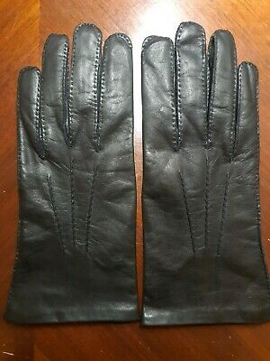 Burfield Of Matlock Vintage Black Leather Gloves.Mens Size 9.100% Silk lining.