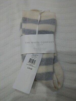 Johnstons of Elgin -The White Company Pure Cashmere Bed Socks Striped Gray White