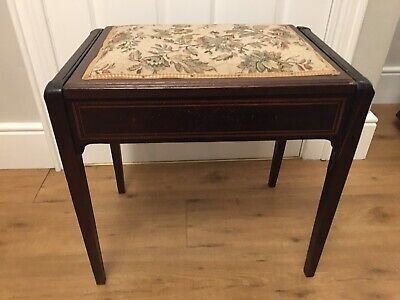 Antique Piano Stool With Tapestry Detail