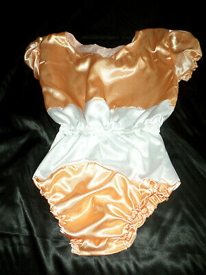 "Adult Baby Sissy All-In-One Peach + White Satin Romper 50"" Chest Sleepsuit"