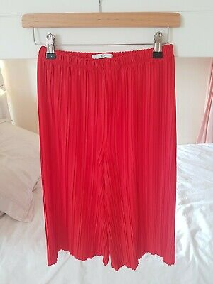 M&S accordion Pleat Party Pants Age 9-10 in red