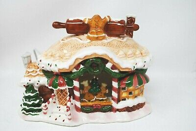 Vintage Christmas Delights Gingerbread House Bakery Village Light Up Gerson RARE