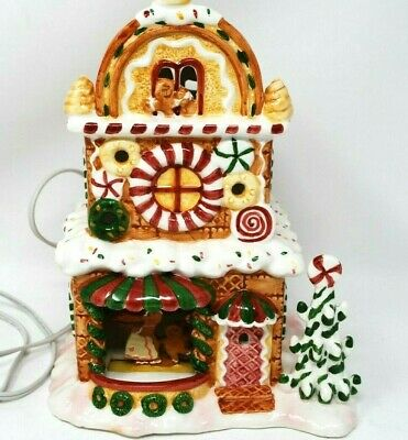 Vtg Christmas Delights Gingerbread House Cookie Shop Gerson Lights Up RARE