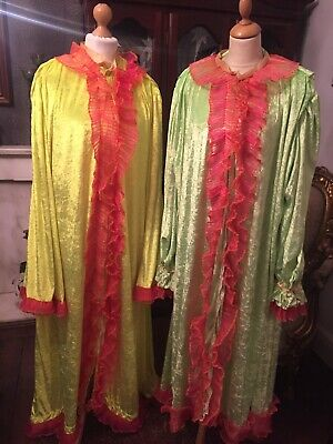 Set Of 2 Pantomime Ugly Sister Dressing Gowns Cinderella Florescent Yellow/Green
