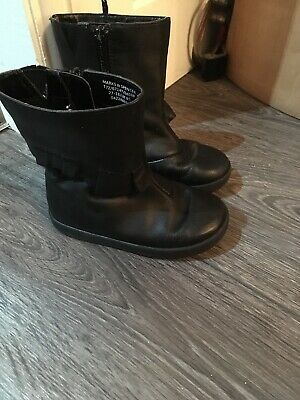 Marks & Spencer Girls Black Winter Leather Boots Size 8