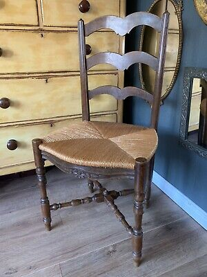 C19th Antique Oak Ladderback & Rush Seated Country Kitchen Chair