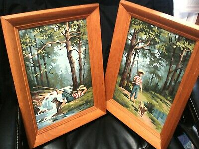 Vintage oil paint by numbers, a pair, Boy Fishing with His Dog, golden oak frame