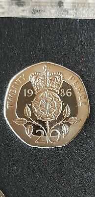 Very Rare 1986 Proof 20p Coin. Unreleased Coin Taken From Royal Mint Set