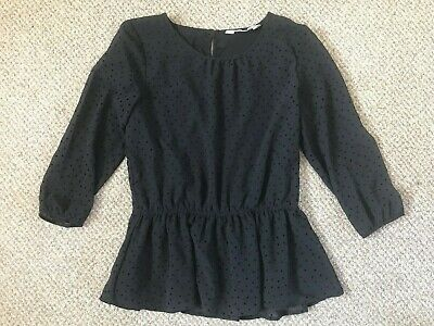 Girls Black Party Top, H&M Age 12-13, Chiffon Long Sleeves, Lined Body, Waisted