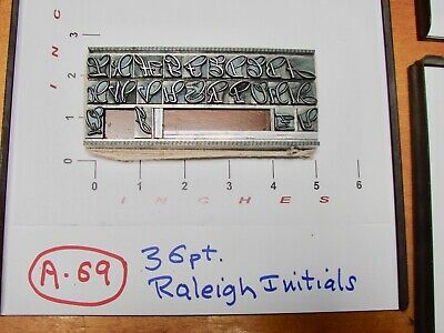 Letterpress Type - 36 pt. Raleigh Initials - EXTREMELY RARE !