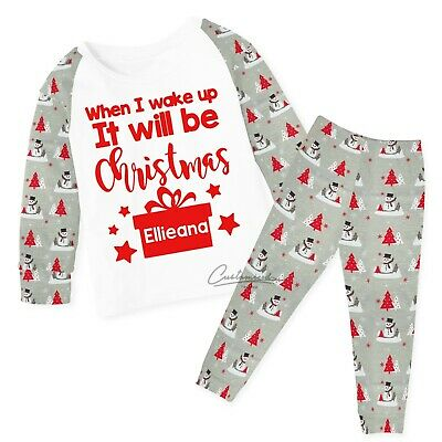 Personalised Christmas Pyjamas Any Name Xmas Eve PJ's Kids 6-12mths 9-10yrs 121