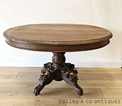 Antique French Oak Dining Table Henri II Style Carved Centre Pedestal - TA042