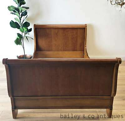French Vintage Sleigh Bed Cherrywood French Single - TA060