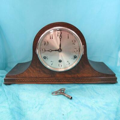 Vintage Anvil Wooden Mantel Clock with Key Westminster Chime - Spares or Repair