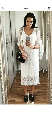 Zara Offwhite Lace Dress With Embroidery Bnwt Size S