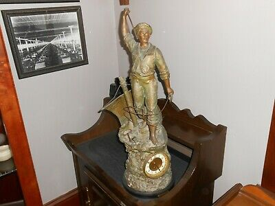 Antique French Spelter clock inherited estate Cod Fisher over 2 feet tall